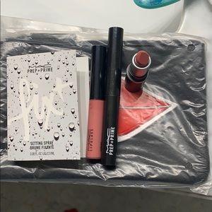 Mac cosmetics bag, lipstick, prep and prime, gloss